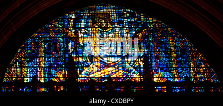 Detail of stained glass window depicting Christ in the Anglican Cathedral, Liverpool - Stock Photo