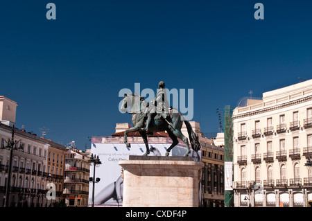 View of the Equestrian statue of King Carlos III Puerta Del Sol Madrid Spain Europe - Stock Photo