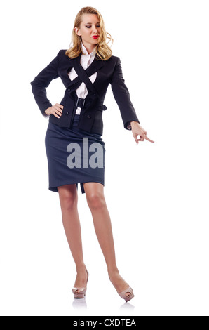 Woman businessman isolated on the white - Stock Photo