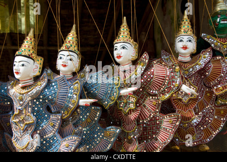 Puppets for sale, Bagan (Pagan), Myanmar (Burma), Asia - Stock Photo