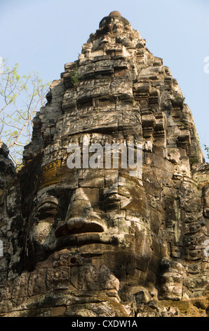 North Gate, Angkor Thom, Angkor Archaeological Park, UNESCO World Heritage Site, Siem Reap, Cambodia, Indochina, - Stock Photo