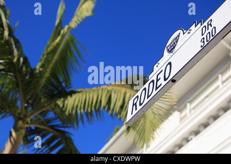Road sign, Rodeo Drive, Beverly Hills, Los Angeles, California, USA - Stock Photo