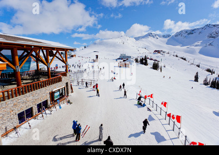 High angle view of Roundhouse, Whistler Blackcomb Ski Resort, Whistler, British Columbia, Canada, North America - Stock Photo