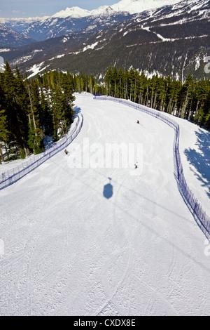 Aerial view of ski run, Whistler mountain, Whistler Blackcomb Ski Resort, Whistler, British Columbia, Canada, North - Stock Photo