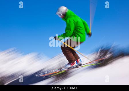 Skier flying off a ramp, Whistler Mountain, Whistler Blackcomb Ski Resort, Whistler, British Columbia, Canada, North - Stock Photo