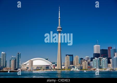 City skyline showing CN Tower, Toronto, Ontario, Canada, North America - Stock Photo