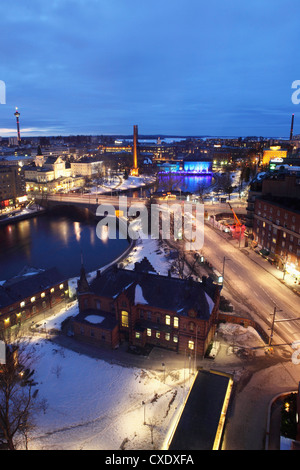 River Tammerkoski runs past the Finlayson Complex, the Nasinneula tower (top left), city centre of Tampere, Pirkanmaa, - Stock Photo