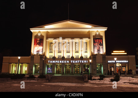 Facade of Tampere's Theatre (Tampereen Teatteri) on the Central Square (Keskustori), at night, in Tampere, Pirkanmaa, - Stock Photo