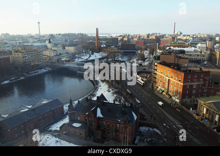 River Tammerkoski runs through the city centre, past the Finlayson Complex, central Tampere, Pirkanmaa, Finland, - Stock Photo