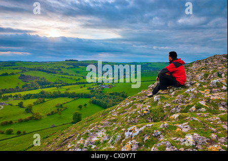 River Manifold Valley near Ilam from Thorpe Cloud, Peak District National Park, Derbyshire, England, UK - Stock Photo