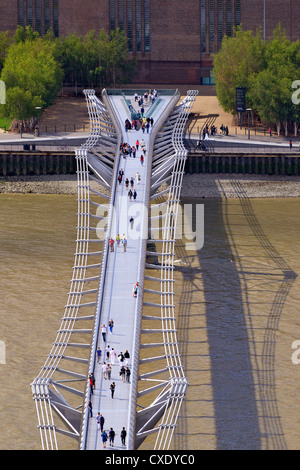 Aerial view of Tate Modern and Millennium Bridge, Bankside, taken from the Golden Galler of St. Paul's Cathedral, - Stock Photo