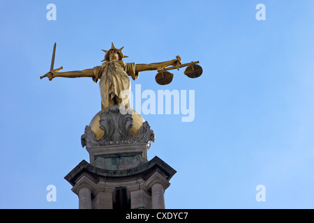 Statue of Lady Justice with sword, scales and blindfold, Old Bailey, Central Criminal Court, London, England, United - Stock Photo