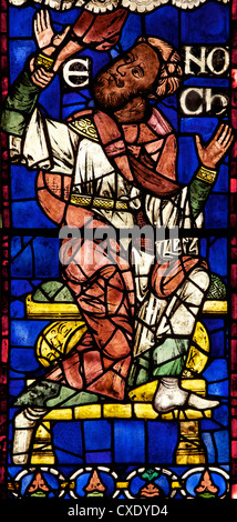 Medieval stained glass of Enoch, Geneaology or Ancestors of Christ, South Window, Canterbury Cathedral, Canterbury, - Stock Photo