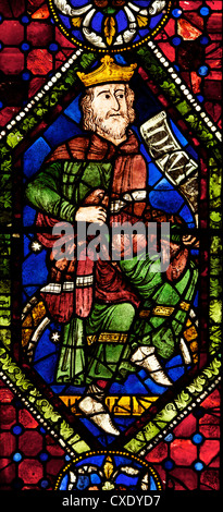 Medieval stained glass of King David, Ancestors or Geneaology of Christ, South Window, Canterbury Cathedral, Canterbury, - Stock Photo