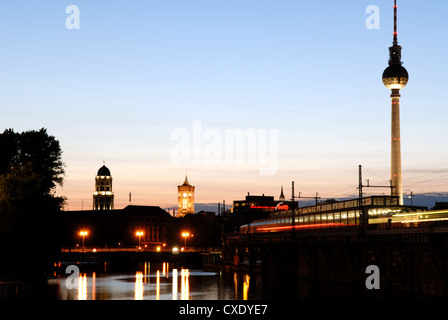Berlin Spree evening with the Red Town Hall and TV Tower - Stock Photo