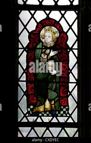 Medieval stained glass in the Chapel of Edward the Confessor, Canterbury Cathedral, UNESCO World Heritage Site, - Stock Photo