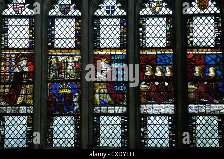 Medieval stained glass in the Royal Window, Northwest Transept, Canterbury Cathedral, Canterbury, Kent - Stock Photo