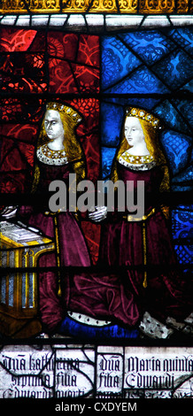 Medieval stained glass depicting Elizabeth of York and Cecily, Royal Window, Canterbury Cathedral, Canterbury, Kent - Stock Photo