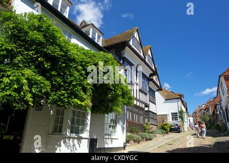 Mermaid Street in summer sunshine, Rye, East Sussex, England, United Kingdom, Europe - Stock Photo