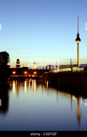 Berlin Spree evening with Rotes Rathaus and TV Tower - Stock Photo
