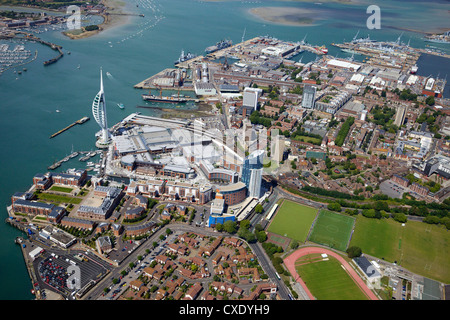 Aerial view of the Spinnaker Tower and Gunwharf Quays, Portsmouth, Hampshire, England, United Kingdom, Europe - Stock Photo