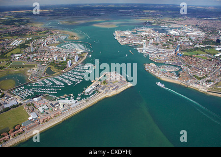 Aerial view of Portsmouth harbour and the Solent, Hampshire, England, United Kingdom, Europe - Stock Photo