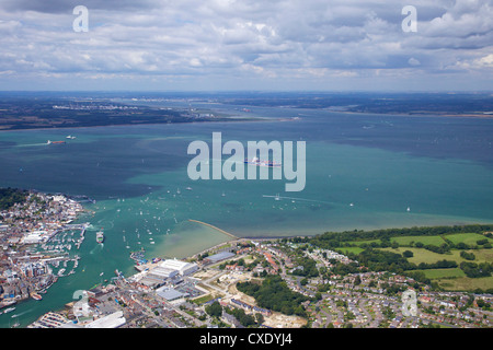 Aerial view of Cowes and the Solent, Isle of Wight, England, United Kingdom, Europe - Stock Photo