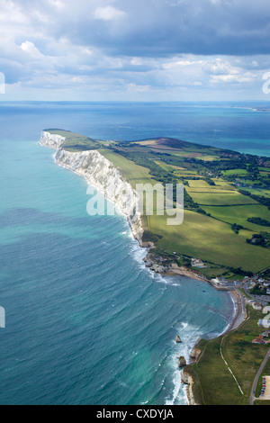 Aerial view of Freshwater Bay looking to the Needles, Isle of Wight, England, United Kingdom, Europe - Stock Photo