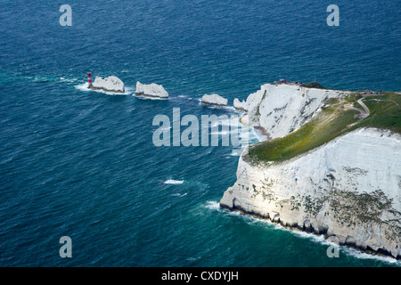 Aerial view of the Needles, Isle of Wight, England, United Kingdom, Europe - Stock Photo