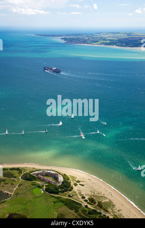 Aerial view of yachts racing in Cowes Week on the Solent, Isle of Wight, England, United Kingdom, Europe - Stock Photo