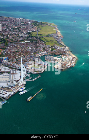 Aerial view of the Spinnaker Tower and Gunwharf Quays, Portsmouth, Solent, Hampshire, England, United Kingdom, Europe - Stock Photo