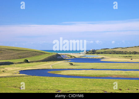 River Cuckmere meets the English Channel at Cuckmere Haven, East Sussex, South Downs National Park, England, United - Stock Photo