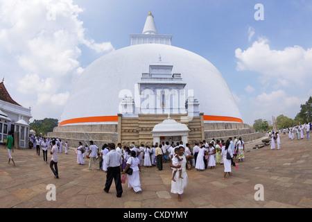 Ruwanweliseya, Maha Thupa or Great Stupa, Unesco World Heritage Site, Anuradhapura, Sri Lanka, Asia - Stock Photo