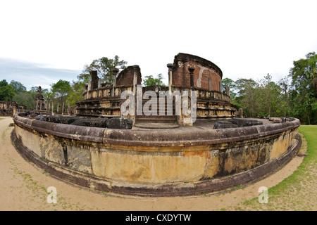 Vatagade, 12th century, UNESCO World Heritage Site, Polonnaruwa, Sri Lanka, Asia - Stock Photo