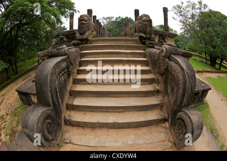 Entrance steps with lions, Council Chamber of King Nissankamalla, UNESCO World Heritage Site, Polonnaruwa, Sri Lanka, - Stock Photo