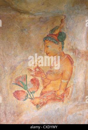 Sigiriya Damsels or Cloud Maidens, Sigiriya Lion Rock Fortress,  UNESCO World Heritage Site,  Sigiriya, Sri Lanka, - Stock Photo