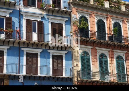 Colorful facades in the historical center of Palermo in Sicily - Stock Photo