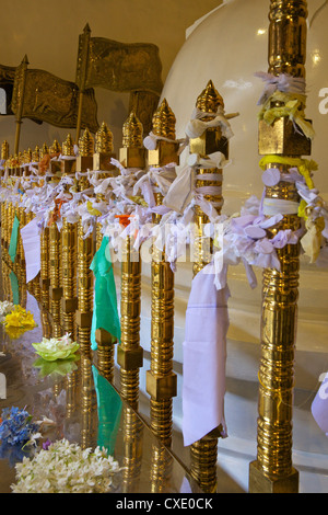 Offerings and strips of cotton left in Temple of the Tooth Relic, Kandy, Sri Lanka - Stock Photo