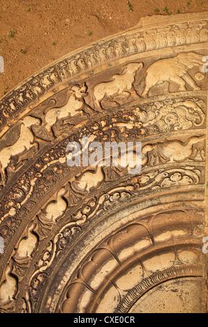 Moonstone, Mahasena's Palace, UNESCO World Heritage Site, Anuradhapura, Sri Lanka, Asia - Stock Photo