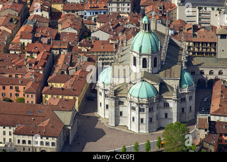 Aerial view of Cathedral in Como town centre, Lake Como, Lombardy, Italian Lakes, Italy, Europe - Stock Photo