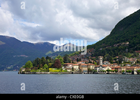 View of Torno in spring sunshine, Lake Como, Lombardy, Italian Lakes, Italy, Europe - Stock Photo
