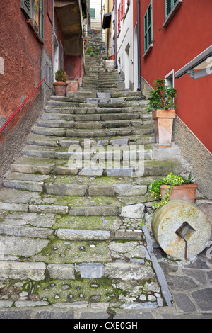 Medieval cobbled back streets of Varenna, Lake Como, Lombardy, Italy, Europe