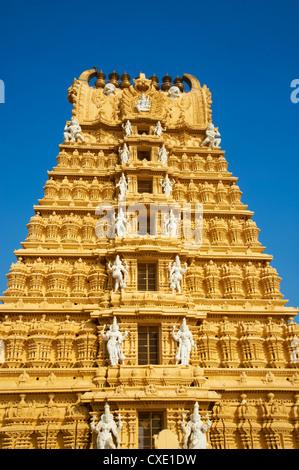 Sri Chamundeswari temple, Chamundi Hill, Mysore, Karnataka, India, Asia - Stock Photo