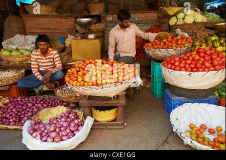 Vegetables for sale, Devaraja market, Mysore, Karnataka, India, Asia - Stock Photo