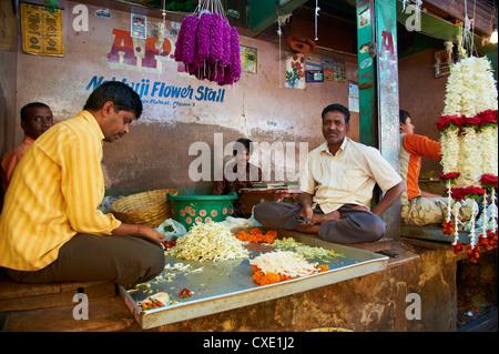 Flowers for sale, Devaraja market, Mysore, Karnataka, India, Asia - Stock Photo