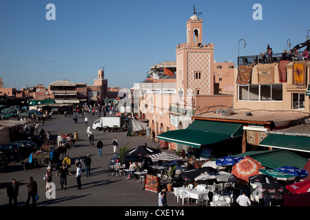 View over market, Place Jemaa El Fna, Marrakesh, Morocco, North Africa, Africa - Stock Photo