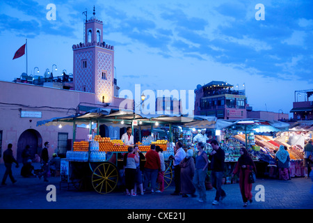 Market stalls at dusk, Place Jemaa El Fna, Marrakesh, Morocco, North Africa, Africa - Stock Photo