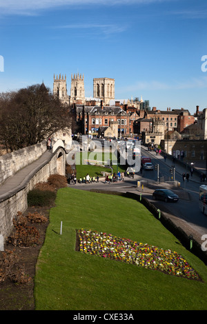 York Minster from the City Walls, York, Yorkshire, England - Stock Photo