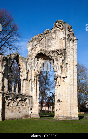St Marys Abbey, Museum Gardens, York, Yorkshire, England - Stock Photo