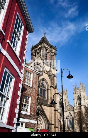 St Wilfrids Catholic Church and York Minster, York, Yorkshire, England - Stock Photo
